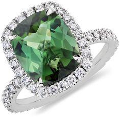 Green Tourmaline and Diamond Ring. #BlueNile