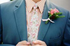 Go floral - great suit/tie/boutonniere combo!