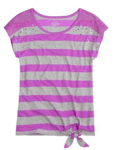 Lace Shoulder Striped Tee With Tie | Girls Pop Riot New Arrivals | Shop Justice