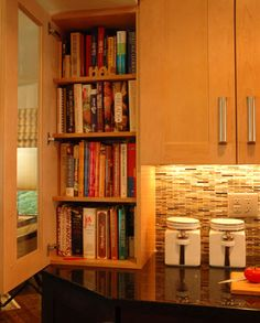 Kitchen Designs By Ken Kelly Wood Cookbook Storage
