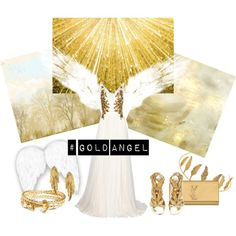 Gold Angel by miqua on Polyvore featuring Mode, Marchesa, Giuseppe Zanotti, Yves Saint Laurent, LeiVanKash, Brooks Brothers and Maria Nilsdotter Marchesa, Brooks Brothers, Giuseppe Zanotti, Yves Saint Laurent, Angel, Polyvore, Design, Fashion Styles, Angels