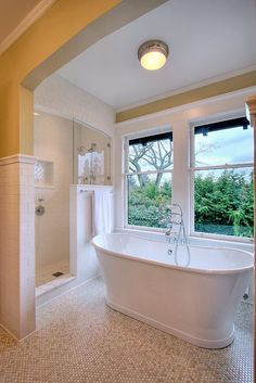 J.A.S. Design-Build, Seattle, WA. *******Minus the windows, the shower area & tub, if we have one, are in placement with our bathroom. Use a different color trim, glass, & mirrors for a bright room.