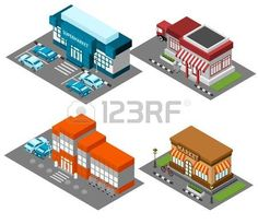 store isometric: Vintage market store street view with modern supermarket shopping mall isometric icons set abstract isolated vector illustration Illustration