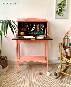 Painted Furniture For Sale, Pink Furniture, Cool Furniture, Office Furniture, Blue Chest Of Drawers, Set Of Drawers, Desk Makeover, Furniture Makeover, Diy Furniture Projects