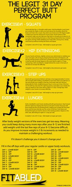 In response to the number of really bad Butt workouts on tumblr like many of the 30 day squat challenges. I have put together a lower body workout which is targeted directly at giving you an amazing butt. These exercises have been scientifically researched and shown to be the most effective glute exercises.