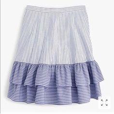 J. Crew Skirts | Host Pickjcrew Striped Tiered Ruffle Skirt | Poshmark White Skirts, Mini Skirts, Ruffle Skirt, Ruffles, Sewing Clothes, Skirt Fashion, Women Wear, Summer Dresses, Outfits