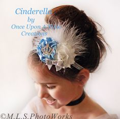 Cinderella Inspired Couture Feather Satin and Shabby Sparkle Headband - Newborn Baby Disney Hairbow - Little Girls Blue and White Hair Bow on Etsy, $9.99