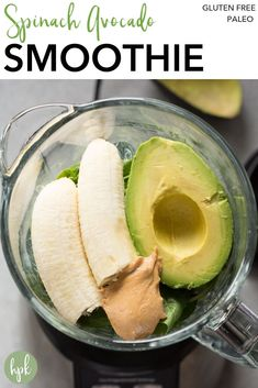 This Spinach Avocado Smoothie is the perfect recipe to get your fruit and veggies in. Made with almond milk and banana, it's a healthy addition to your breakfast or a perfect snack! #greensmoothie #avocadosmoothie #spinachsmoothie #glutenfree #paleo Fruit Smoothies, Smoothies Vegan, Green Smoothie Recipes, Easy Smoothies, Smoothie Drinks, Smoothies With Spinach, Avocado Spinach Smoothie, Energy Smoothies, Smoothies With Almond Milk