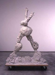 Rebecca Warren - SHE - No.6 2003 unfired clay, MDF & wheels 186 x 61 x 122 cm