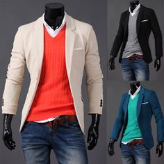 Love the Orange with Light color Blazer. I love the casual but stil dressed up look Fashion Mode, Look Fashion, Mens Fashion, Korean Fashion, Autumn Fashion, Fashion Trends, Sharp Dressed Man, Well Dressed Men, Casual Blazer