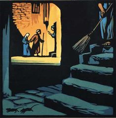 No Room at the Inn (Through the Animals Eyes - Nativity Story) Linocut by Chris Wormell