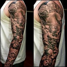 Angels Sleeve Tattoo in black and grey