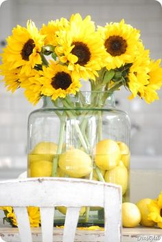 Sunflowers with whole lemons in a large vase.