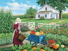 DPF Farmwife and fruit needlework diamond mosaic square home decor crafts diamond embroidery diamond painting cross stitch. Art And Illustration, Pretty Pictures, Art Pictures, Art Vintage, Farm Art, Ouvrages D'art, Country Scenes, Country Art, Country Houses