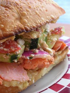 Greek Salmon Sandwiches.