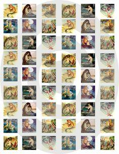 Mermaid Inchies Digital Collage Sheet-mermaid, collage sheet, printable, craft, scrapbook, jewelry