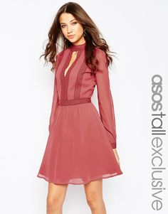 ASOS TALL Skater Dress with Lace Inserts