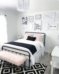 Teen Girl Bedrooms cooool yet wonderful living space, number 7976693048 - A super coooool and spectacular collection on teen girl room tips. Bedroom Black, Small Room Bedroom, Cozy Bedroom, Bedroom Colors, Bedroom Brown, Ikea Bedroom, Black Bedding, Bedroom Wall, Bedroom Furniture