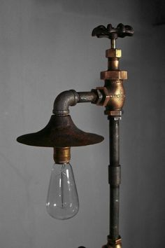 Industrial Vintage Floor Lamp Brass SteamPunk by TheLightFixtureCo, $235.00