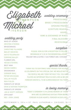 Modern Wedding Program Ceremony Program Wedding Invitation