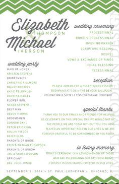 chevron wedding program ceremony program by xSimplyModernDesignx #chevron #wedding #program