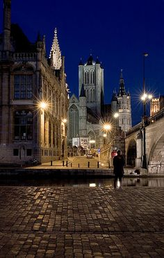 Ghent Riverside by Night, Belgium