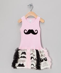 Take a look at this Pink Mustache Ruffle Drop-Waist Dress - Toddler & Girls by Bubblegum Diva on #zulily today!