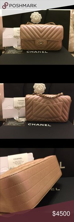 Limited Edition CHANEL Mini Rectangular in Caviar Brand New and Never worn... Purchased August 4,2017..Comes in full set...This is a limited edition mini rectangular in Light gold Pink in Iridescent  chevron Effect( it change the color depends on the lighting). Caviar leather... Silver Hardware and clear film still on the hardware❌TRADES❌Accepting Reasonable offer... Accepting payment plan.. CHANEL Bags Crossbody Bags