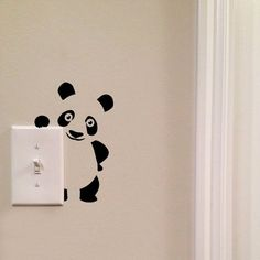 Panda Light Switch Cute Vinyl Wall Decal by imprinteddecals Wall Painting Decor, Wall Decor, Wall Art, Vinyl Decor, Wall Decal Sticker, Wall Stickers, Wall Drawing, Creative Walls, Paint Designs