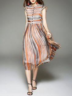 Orange Cap Sleeve Stripe Silk High Waist Midi Dress, Orange, D. Silk Shirt Dress, Dress Skirt, Dress Up, Pretty Dresses, Beautiful Dresses, Casual Formal Dresses, Long Cocktail Dress, Day Dresses, Midi Dresses