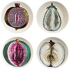 A Set of Four Piero Fornasetti Pates FromThe Sezioni Di Frutta Series.