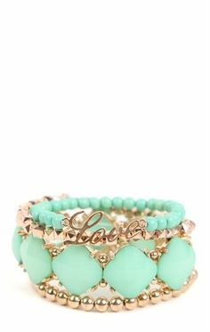 Deb Shops Mixed Stretch Bracelets with Love, Stone, and Beads $8.92