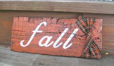 Rustic fall autumn bittersweet orange reclaimed wood sign art on Etsy, $12.00