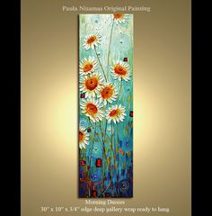 Original  abstract contemporary Palette Knife Textured Thick Paint  floral fine art by P. Nizamas
