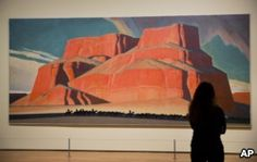 """Maynard Dixon's 1935 painting """"Red Butte with Mountain Men"""" is displayed in the exhibit """"Cross Country: The Power of Place in American Art, 1915-1950,"""" at the High Museum of Art in Atlanta, Feb. 6, 2017."""