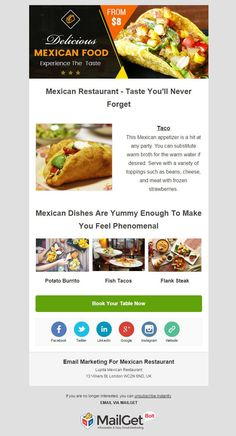 Various restaurant owners has been enabled to expand their businesses with the help of classic restaurant email templates provided by MailGet Bolt - email marketing service. Classic Restaurant, Restaurant Owner, Mexican Dishes, Mexican Food Recipes, Email Email, Mexican Appetizers, Email Templates, Frozen Strawberries, The Help