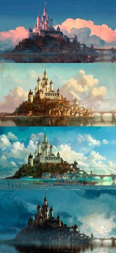 Day 7: Favorite castle = The castle from Tangled. It has water all the way around it with a beautiful village below.