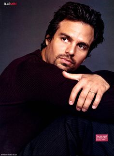 Mark Ruffalo ~ sporting the black sweater and pin striped slacks... OK ok you failed to notice the attire?.. 10 points for the stare: all encompassing,, kind,  & curious without a hint of menace...lol ;-)