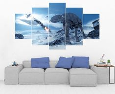 Snow AT-AT Star Wars 5 Panel / 5 Piece Canvas Art Set Star Star Wars Wall Art, 5 Piece Canvas Art, Wooden Frames, Wall Art Prints, New Homes, Snow, Stars, Basement, Poster