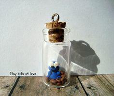 Micro Cookie Monster in a jar - mini sesame street - tiny clay cookie monster -  cookie monster charm