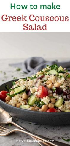 Greek Couscous Salad recipe Healthy Italian Recipes, Greek Recipes, Vegetarian Recipes, Couscous Salad Recipes, Spaetzle Recipe, Kalamata Olives, Salad Dressings, Cooking Ideas, Vinaigrette