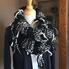 Hand Knit One of a Kind Fringy Striped Cowl Scarf I made this knit scarf with black and cream striped wool and acrylic blend scarf with fringe to give it a soft drapey boho style. Great with a sweater, leather jacket or winter coat. Accessories Scarves & Wraps