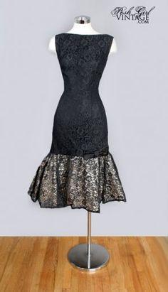 1950's Black Lace Mermaid Cocktail Evening Dress