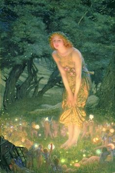 Midsummer's Eve. Edward Robert Hughes. Reminds me of my childhood. Books my Mom used to read to us.