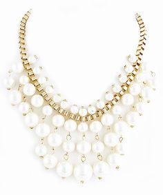 Pearl Fringe Statement Necklace #shoplately