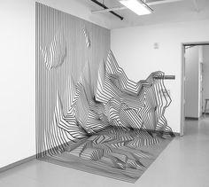 Rainbow Tape Art: Vibrant and Dazzling Installation Work by Rebecca Ward Tape Art, Tape Wall Art, Instalation Art, Mawa Design, Illusion Art, Mirror Art, Art Plastique, Urban Art, Architecture