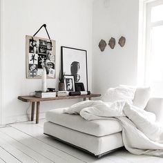 white walls, sofa, plank floor, bench #hopeandmay #inspiration
