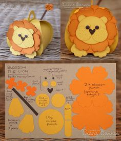 Blossom the Lion box & instructions made with Stampin Up curvy keepsake box die & punches. By Di Barnes #colourmehappy
