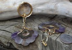 Hey, I found this really awesome Etsy listing at https://www.etsy.com/listing/226636898/amethyst-fan-hanging-gauged-earrings-00g