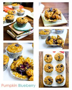 Pumpkin Chai Spice Oatmeal Blueberry Muffins - Healthy. Happy. Life. Weekend-perfect! #vegan